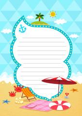 여름 편지지 (해변과 파라솔)
