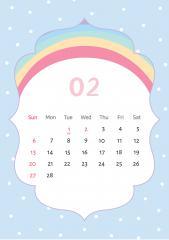 유니콘 캘린더 2월 (무지개 배경)
