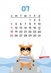 7월 - 바다에 놀러와 행복한 소 달력