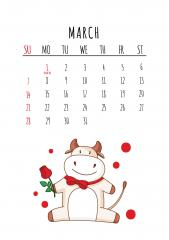 2021 하얀 소의 해 - 3월 달력