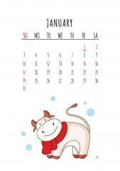 2021 하얀 소의 해 - 1월 달력