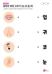 알맞은 명칭 고르기 (눈,코,입,귀)